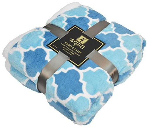 """Napa Plush Blanket Blue 50"""" x Reversible Fuzzy Microfiber Bed Throw TV All Blanket Bed"""