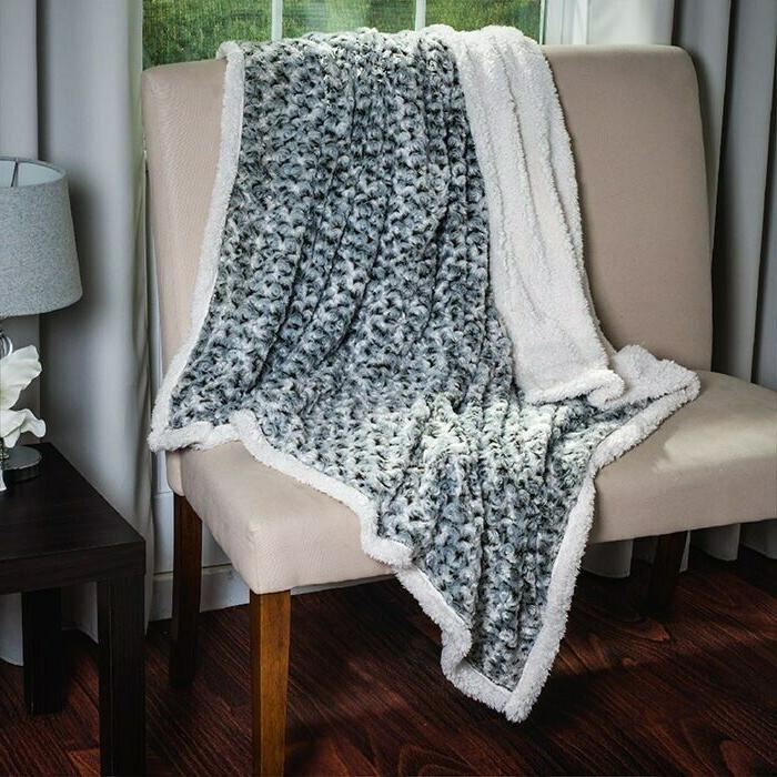 Swirly Sherpa Soft Fleece Throw Blanket 50 x 60 Inch