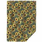 Throw Blanket Sunflower Painting Yellow Blue Botanical Impre