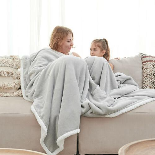 Throw Sherpa Flannel Blanket Extra Soft Reversible 50×60 Plush Fabric