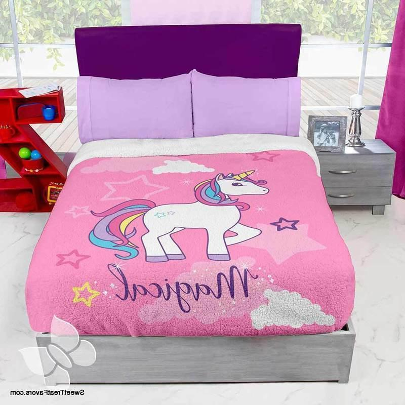 Unicorn Horse Rainbow Fleece Blanket Comforter Bedding TWIN