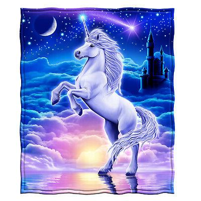 unicorn kingdom full queen size plush fleece