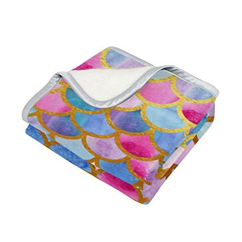 ALAZA Scale Plush Camping Fleece Lightweight Bed Size 50x60inches