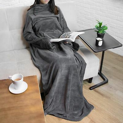 wearable blanket with sleeves soft fleece snuggie