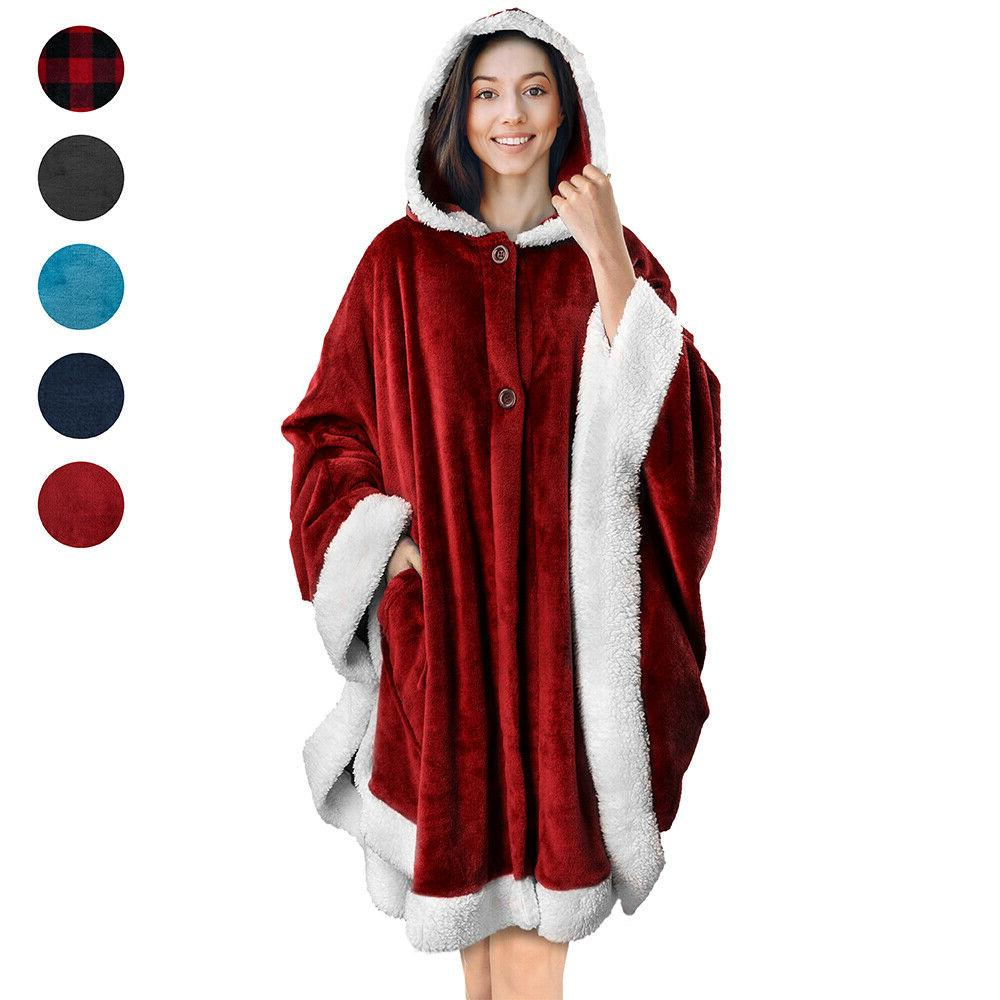 wearable hooded blanket wrap with hood pockets