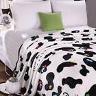 White Cow Super Soft Microplush Fleece Throw Sofa Blanket -