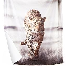 leopard printed sherpa throw blanket