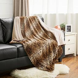 "Leopard Throw Blanket Faux Fur Bed Blanket 60""x80"" Light Bro"