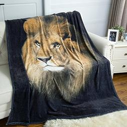 Bedsure Lion Flannel Fleece Throw Blanket Throw size 50x60 A