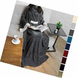 PAVILIA Deluxe Fleece Blanket with Sleeves for Adult, Men, a