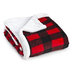 TrailCrest Baby Soft Sherpa Blanket-Plush Reversible Plaid-I