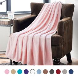 Bedsure Luxury Fleece Blanket Flannel Pink Throw Lightweight