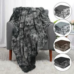Soft Fuzzy Faux Fur Reversible Tie-dye Sherpa Throw Blanket