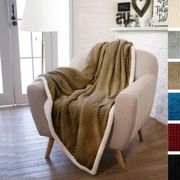 Luxury Soft Reversible Sherpa Plush Fleece Throw Blanket Che