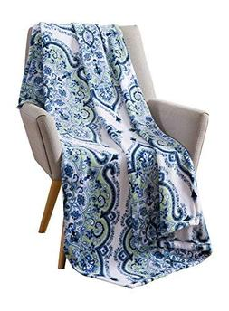Mandala Velvet Fleece Throw Blanket: Soft Plush Blue Paisley