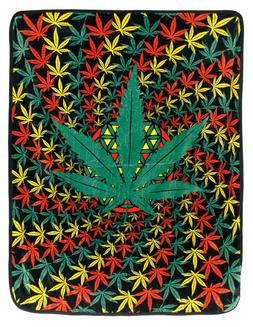 Marijuana Leaf Fleece Blanket Throw Rasta Hippie Pot Weed Co