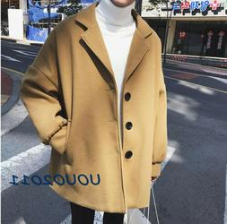 Mens Loose Fit Wool Blend Wide Lapel Trench Short Style Coat