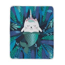 ALAZA Mermaid Cat Kitty Unicorn Plush Throws Siesta Camping