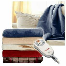 microplush electric heated throw blanket assorted colors
