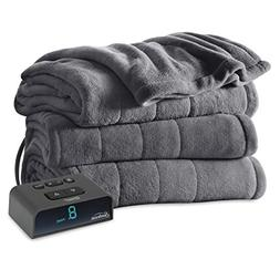 Sunbeam Heated Blanket | Microplush, 10 Heat Settings, Slate