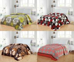 Modern Soft Lightweight Thin Throw Fleece Blanket Queen Size