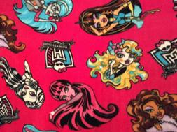 "Monster high fleece fabric on hot pink, 60"" wide, sold BTY"