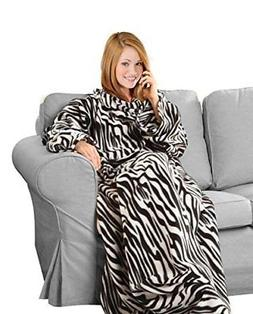 Napa Soft Fleece Blanket with Sleeves And Pockets Zebra Supe