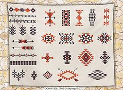 Native American Fleece Throw Blanket Illustration of Navajo