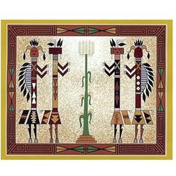 Native American Style Kachina 2 Fleece Throw Blanket 50x60