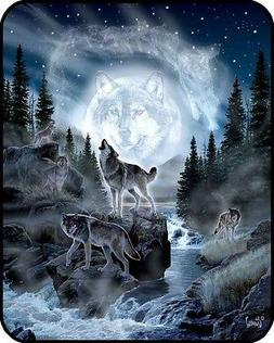 """New 79""""x96"""" Queen Size Wolf Pack Wolves And Moon Mink Blanke"""
