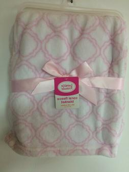 New Coral Fleece Plush Baby Blanket Luvable Friends Pink 30""