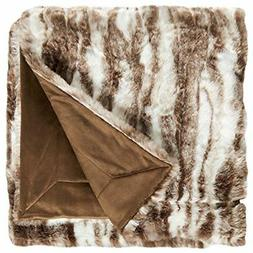 "NEW Stone & Beam Marble Faux Fur Throw Blanket, 80"" x 60"", B"