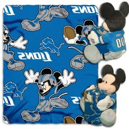 NFL Detroit Lions Mickey Mouse Pillow with Fleece Throw Blan