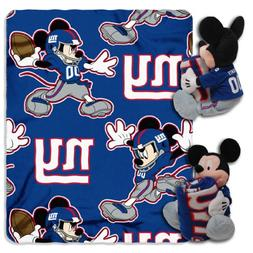NFL New York Giants Mickey Mouse Pillow with Fleece Throw Bl