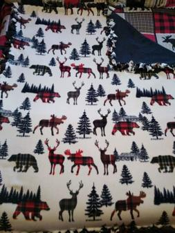 No Sew Fleece Blanket~Hunting~ Lake~Cabin~Rustic ~ 60x72~4 y