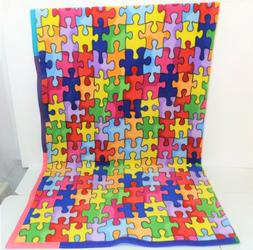 Non Pill Fleece Blanket : Colorful Puzzle :  Muti-Color Trim