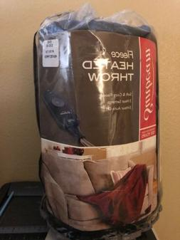 NWT Sunbeam Electric Heated Fleece Throw Red/Black Bed Blank