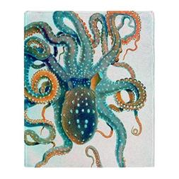 CafePress - Colorful Teal Orange Octopus - Soft Fleece Throw