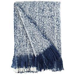 Rivet Oversized Ombre Stripe Brushed Weave Throw Blanket, 60