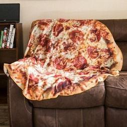 Oversized Soft Fleece Realistic Pizza Blanket