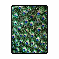 QH Peacock Feather Print Throw Blanket Comfort Design Home D