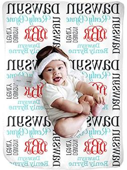 CarefreeTees Personalized Baby Name Blanket Monogrammed Gift