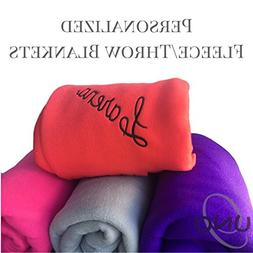Personalized Embroidered Fleece Throw Blankets Kids Bridesma