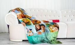 Personalized Photo Fleece Blanket Custom Collage Picture Thr