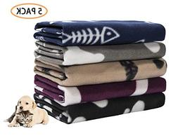 Pet Dog Blanket,Warm Dog Bed Cover Paw Print Fleece Throw Bl