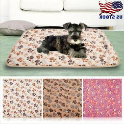 Pet Dog Warm Mat Small Large Paw Print Cat Puppy Fleece Soft