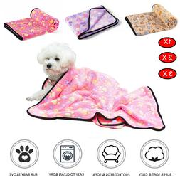 Pet Small Large Blanket Warm Fleece Paw Print Dog Puppy Pig
