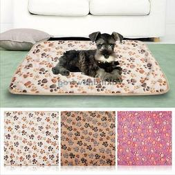 Pet Warm Mat Small Large Paw Print Cat Dog Puppy Fleece Soft