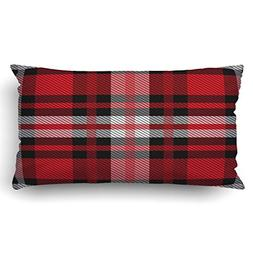 Emvency Pillow Covers Decorative Tartan Plaid Pattern Fabric