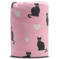 COSMOZ Pink Cat White Heart Pattern Pink Background Soft Lig